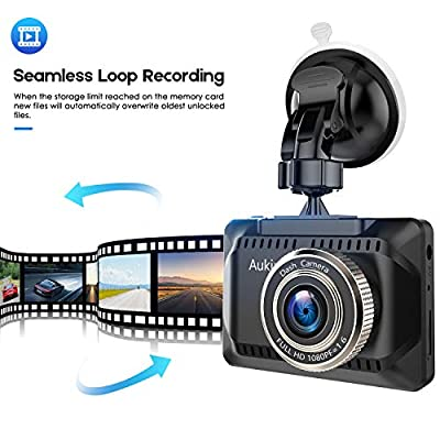 AuKing WiFi Dash Cam 1080P Full HD Dash Camera for Cars 2.45 Inch IPS Screen Car Camera Driving Recorder with Phone APP, G-Sensor, 170° Wide Angle, WDR, Loop Recording, Night Vision, Parking Monitor: Electronics