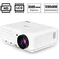 3500 Lumen High Definition LED LCD Projector 1080p Full HD Support Multimedia WXGA Home Cinema Projectors with 150 Display for Video Gaming Outdoor Basement Movie(+ free HDMI cable)