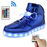 KUshopfast BeKing Bright High Top Light up Shoes LED Flashing Sneakers for Kids Boys Girls JMblue31