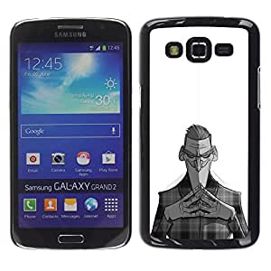 Shell-Star Arte & diseño plástico duro Fundas Cover Cubre Hard Case Cover para Samsung Galaxy Grand 2 II / SM-G7102 / SM-G7105 ( Nefarious Black White Man Kids )