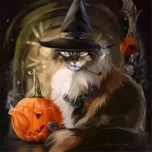 LIPHISFUN 5D Diy Diamond Painting Full Drill for Adults Resin Square Rhinestones Patsed Unfinished Cross Stitch Home Decor Best Gift Halloween Cat Pumpkin 12x12 Inches]()