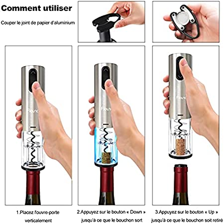Flauno Sacacorchos eléctrico recargable – Abrebotellas automático con caja de regalo | Cortacápsulas | Aireador de vino | Tapón de vino y base de recarga | El regalo perfecto
