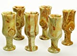 Onyx Marble Stone Carving Goblets Cups Set 6 Pcs India Stone Craft Gift 3.8'' Ht