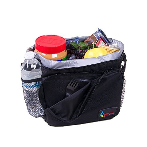 """Revival Picnic Cooler Bag- Top Polyester Insulated Picnic Lunch Cooler Tote Black W/ Large Side Pockets Carry Handle & 48"""" Shoulder Strap- Large Soft Cooler Insulated Picnic Bag for Grocery, Camping (Folded Box Pattern)"""