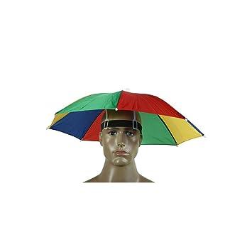 Plegable Paraguas Sombrero Gorra Headwear paraguas para pesca senderismo playa Camping Cap cabeza sombreros deportes al