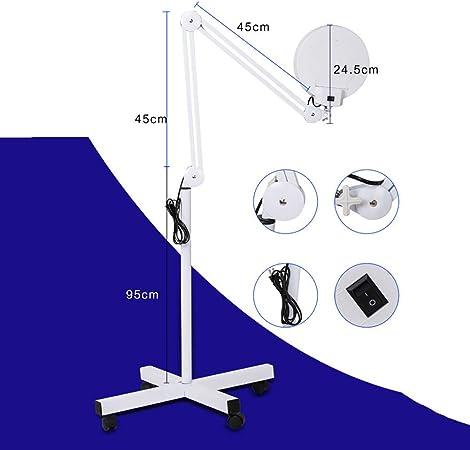 Lampada Ingrandimento Braccio Regolabile Girevole Terra Estetica con 8 Diottrie Lampada Salone SPA Lettura Riparazione Lavoro Lampada Lente d ingrandimento LED
