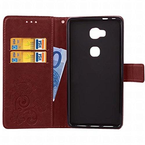 Yiizy Huawei Honor 5X / Honor X5 / GR5 Custodia Cover, Tre Foglia Erba Design Sottile Flip Portafoglio PU Pelle Cuoio Copertura Shell Case Slot Schede Cavalletto Stile Libro Bumper Protettivo Borsa (M