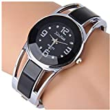 ELEOPTION Bracelet Design Quartz Watch with Rhinestone Dial Stainless Steel Band Free Women's Watch Box (XINHUA-Black)
