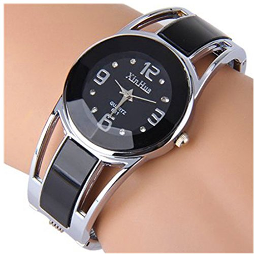 (ELEOPTION Women's Bangle Watch Bracelet Design Quartz Watch with Rhinestone Round Dial Stainless Steel Band Wrist Watches Free Women's Watch Box (XINHUA-Black))