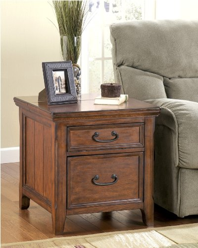 Rustic Dark Brown Woodboro End Table w/ File Cabinet