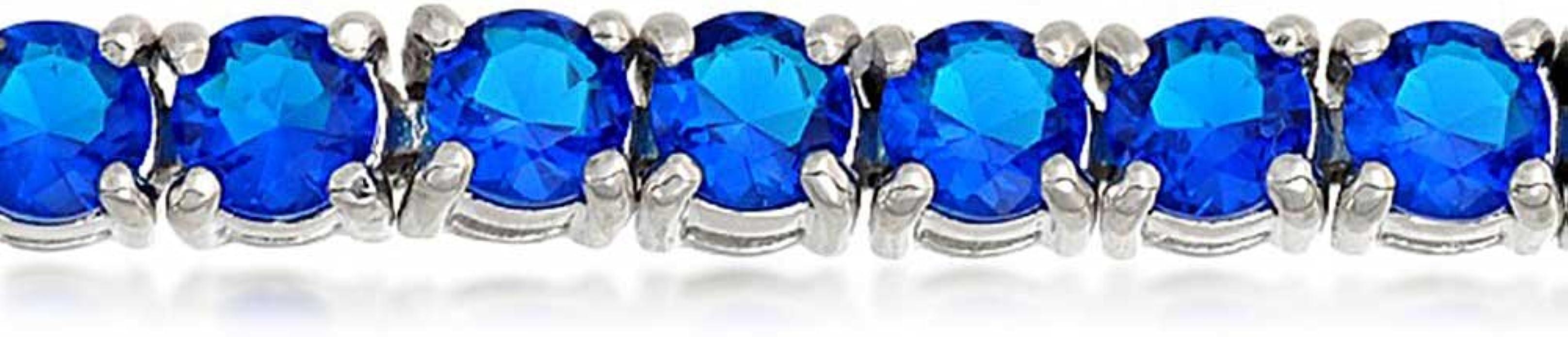 18K Blanc Or Plaqué Rond Saphir Bleu Zircone Cubique Pierre Tennis Bracelet