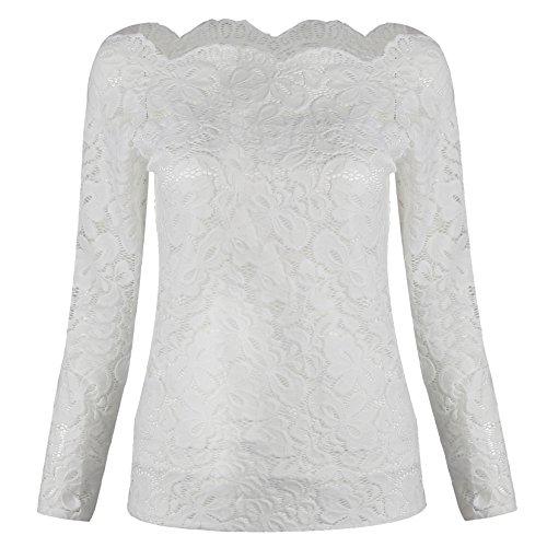 Damen Top Langarmshirts Shirt T-Shirt Hemd Spitzen Sexy (Weiß, M)