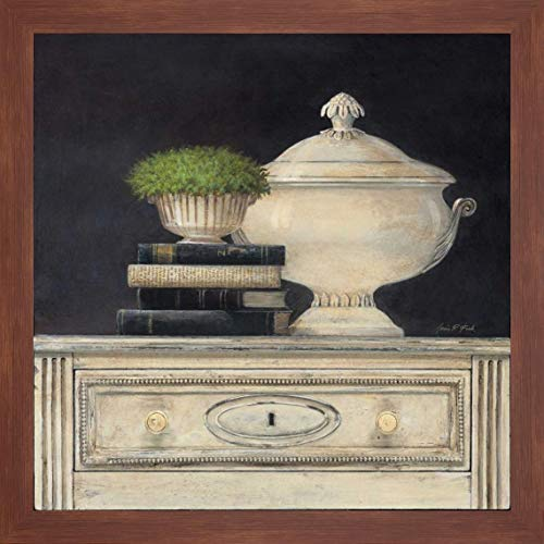"Cream Tureen by Arnie Fisk - 44"" x 44"" Framed Giclee Canvas Art Print Walnut Finish - Ready to Hang"