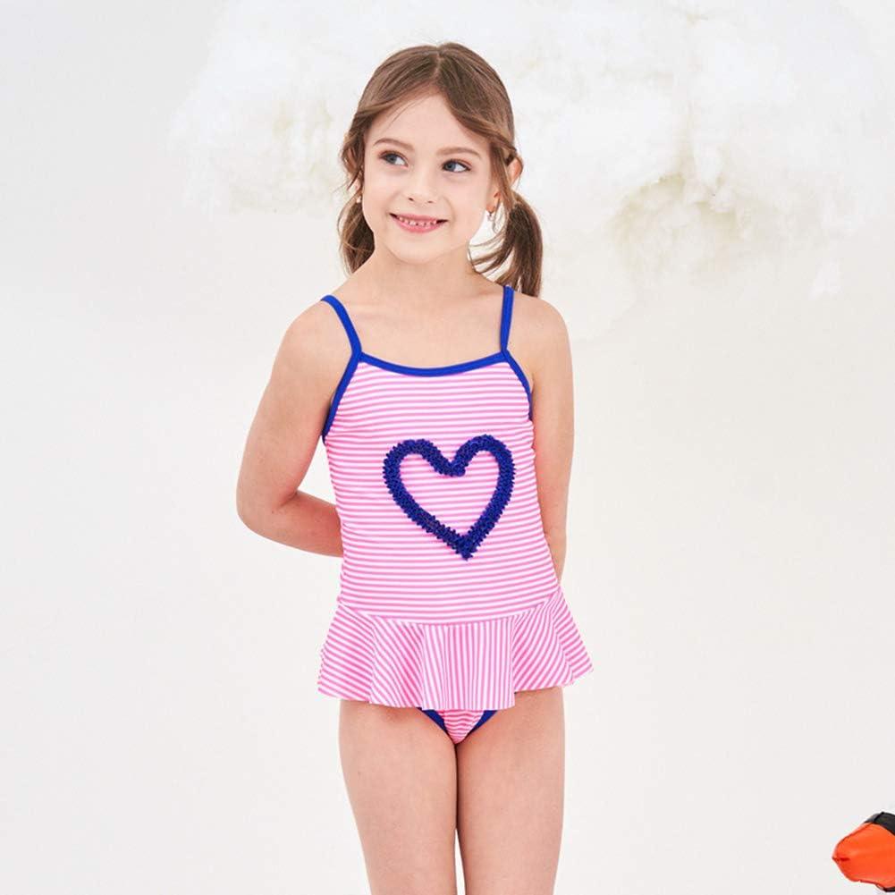 RongCun Baby Girls Falbaba Flounce Drawstring Stripe Love Bathing Suit Toddler One Piece Swimsuit