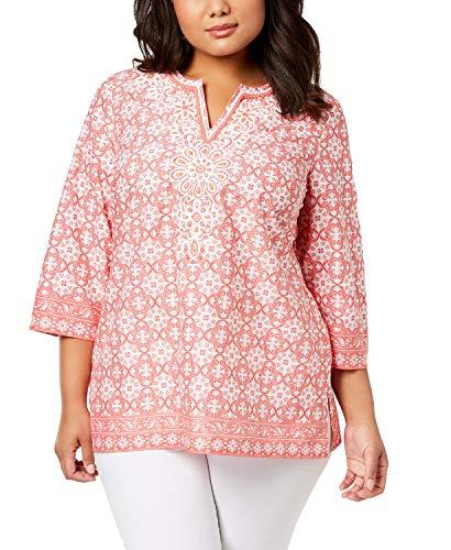 Charter Club Womens Plus Beaded Cotton Tunic Top Orange 3X -