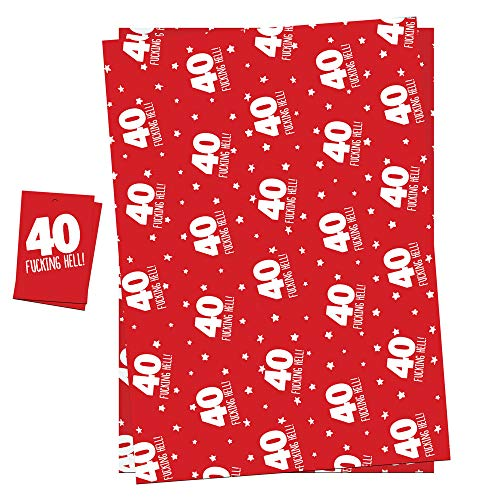 40th Birthday Wrapping Paper Gift Wrap & Tags For Men Women Funny Adult Theme Pack 2 Sheets (NOT ROLL) + 2 Tags & String