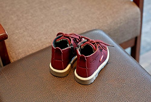 Transer® Baby Mädchen Jungen Martin Stiefel Schnüren Sneaker Kleinkind Neugeborenes Kinder Casual Herbst Winter Schuhe Lauflernschuhe Rot
