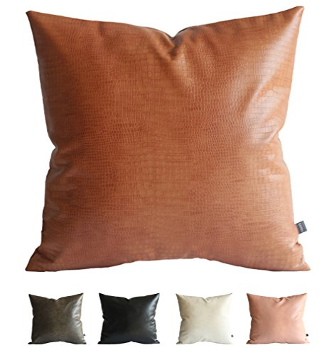 Kdays Faux Leather Crocodile Tan Pillow Cover Throw Pillow Cover Decorative for Couch Cushion Cover 18x18 Inches (Throw Tan Decorative)