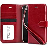 iPhone 8 Plus Case / iPhone 7 Plus Case, TORU Synthetic Leather Wristlet Flip Cover Wallet Case with [Card Slot][ID Holder][Kickstand][Wrist Strap] for iPhone 8 Plus / iPhone 7 Plus - Red