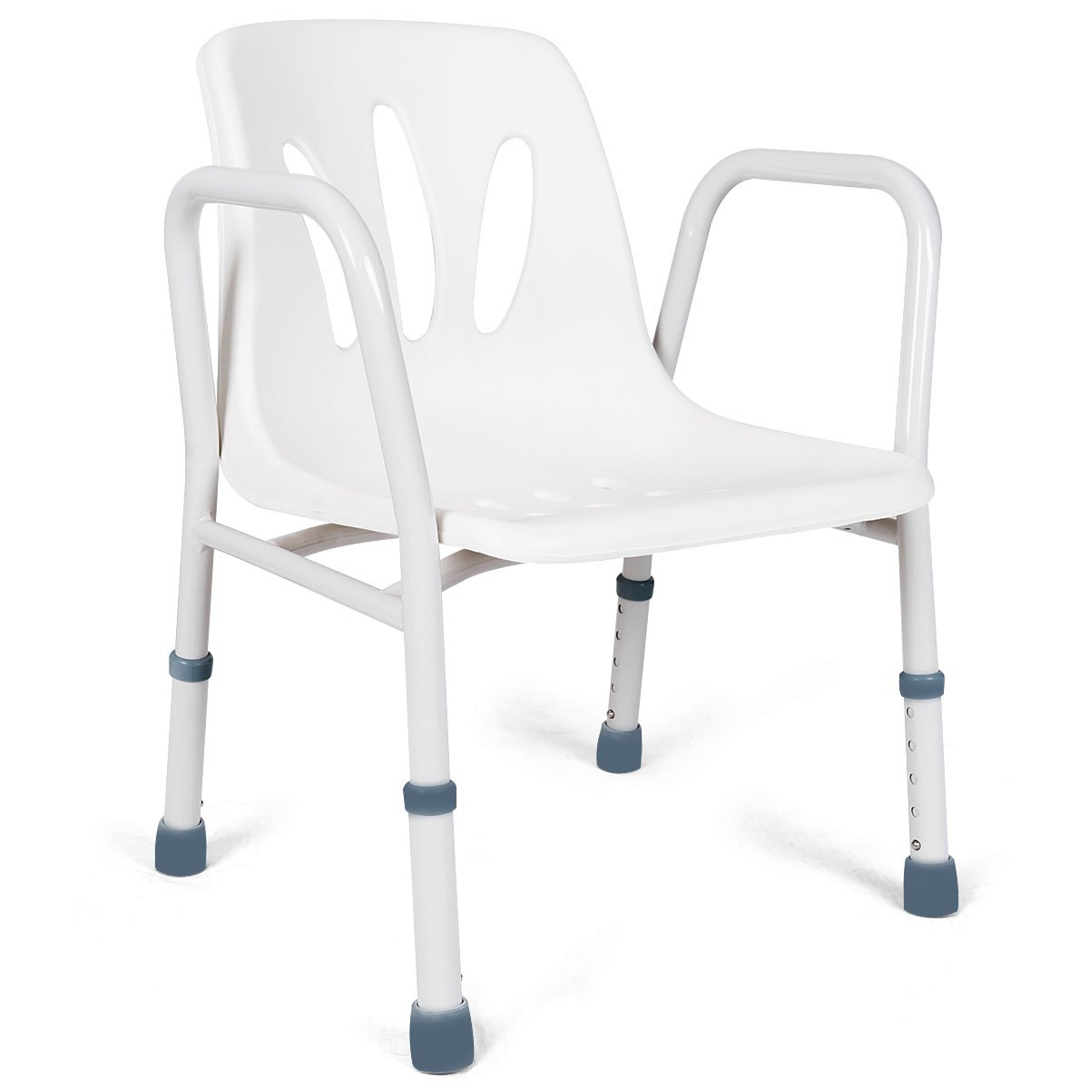 Giantex Shower Chair Adjustable Seat Bench with Back and Arms Lift Seat Height 22 to 26 inch for Disabled Senior Portable Medical Non-Slip Bathtub Bath Chair