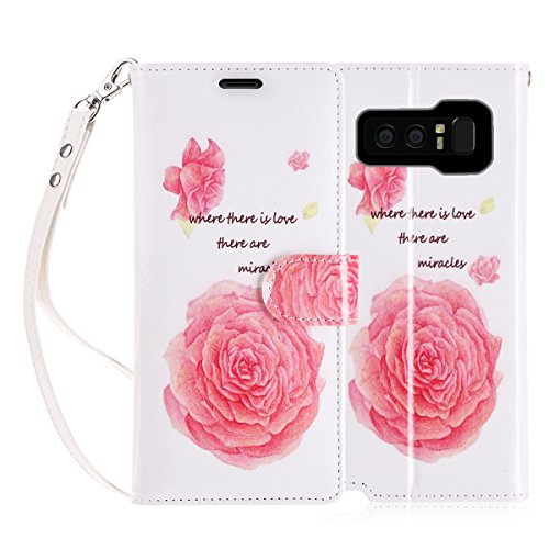 FYY Luxury PU Leather Wallet Case for Galaxy Note 8, [Kickstand Feature] Flip Folio Case Cover with [Card Slots] and [Note Pockets] for Samsung Galaxy Note 8 Flower