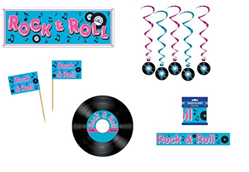 50's ROCK & ROLL PARTY DECORATION Set/RECORDS/Banner/DANGLING Whirls/FOOD PICKS/MUSIC/FIFTIES/PARTY DECOR/SOCK HOP/BANDSTAND (Sock Hop Games)