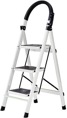 Yuzhonghua diseño de Acero Escalera corredera de Seguro Escalera Plegable de Tres Pasos 150 kg rodamiento casa Escalera/Oficina (Color : White): Amazon.es: Hogar