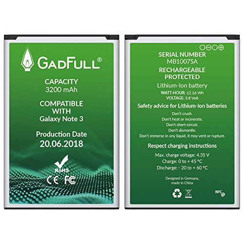 GadFull Battery for Samsung Galaxy Note 3 | Production date 2018 | Corresponds to the original EB-B800BE | Smartphone model GT-N9000 | GT-N9005 | GT-N 9006 | GT-N9009 | replacement battery by GadFull (Image #2)