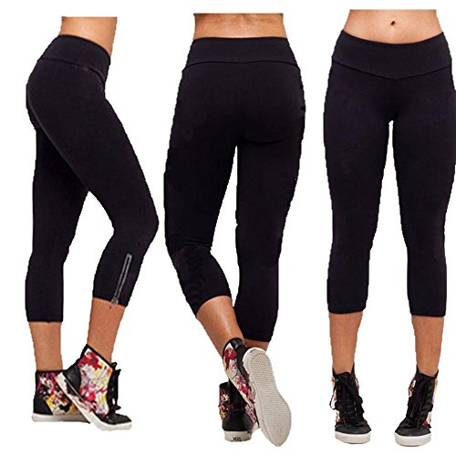Usstore Sexy Hot Pants For Women Stretch YOGA Running Pants Leggings (32/L, Black)