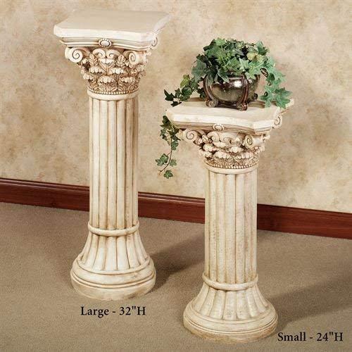 Corinthian Column Pedestal Ivory Wash - Fluted Corinthian Base