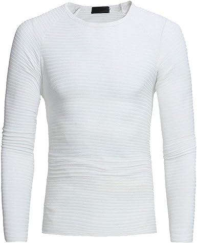 Hombre Camiseta Básica Redondo para Cuello Chic con Friends Camiseta De Punto con Rayas Elásticas De Rayas Finas Camisa De Punto De Manga Larga: Amazon.es: Ropa y accesorios