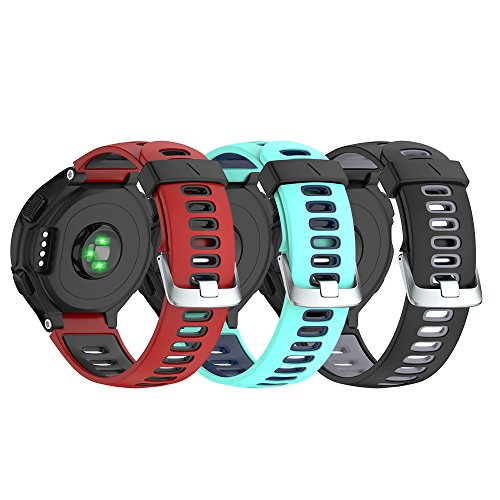 NotoCity Silicone Watch Band Replacement Solft Silicone Strap Compatible Forerunner 230/220/ 235/620/ 630/ 735XT-3PCS Set