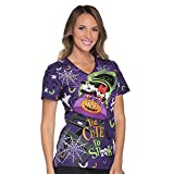 Cherokee Tooniforms Women's Too Cute To Spook Disney Print Scrub Top (Medium)