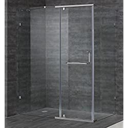 "Aston Contemporary/Modern 60"" x 35"" Semi-Frameless Hinged Shower Enclosure, Brushed Stainless Steel"