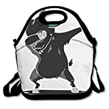 xl dab containers - Funny Dabbing Dab Dance Black Goat Neoprene Lunch Bag Insulated Lunch Box Tote For Women Men Adult Kids Teens Boys Teenage Girls Toddlers (Black)