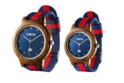 TEMPUS - Willoughby - His and Hers Watches Couple Matching Wood Watch Minimalist Pair Wooden Wristwatch Striped Nylon Band - TWW06 (Pocket Token Refill)