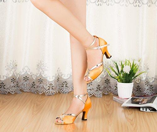 TDA CM106 Womens Ankle Strap Satin Latin Modern Samba Rumba Wedding Dance Shoes Orange Mv7KL8j