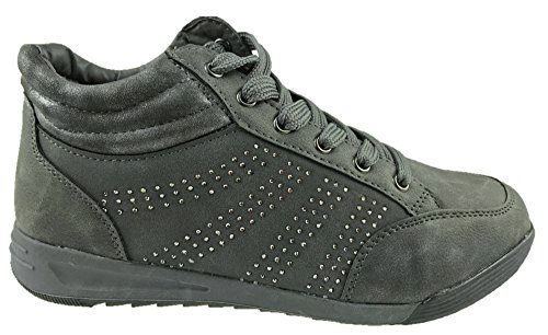 Laura Berg Ladies Faux Leather Comfort Insole High-Top Trainers Dark Grey Size 4-9 New rQDKE2