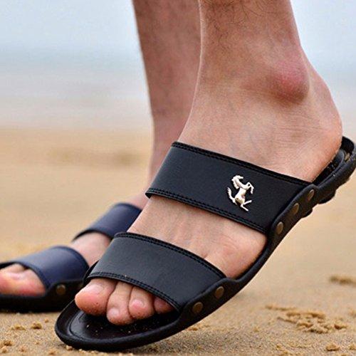 de Zapatos PU Playa Slip Cuero Envío on Zapatillas Verano Negro de Hombres Plataforma Drop Sandalias gq51O4