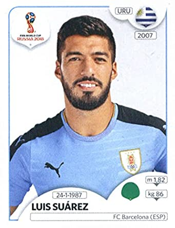 2018 panini world cup stickers russia 109 luis suarez uruguay soccer sticker