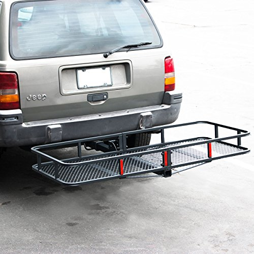 ARKSEN Folding Cargo Carrier Luggage Basket 2' Receiver Hitch 60' x 25' inch Camp Travel Fold Up, Black
