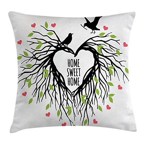 Tree of Life Throw Pillow Cushion Cover by Ambesonne, Heart Shaped Bird Nest Sweet Home Quote Hope Family Partners in Nature, Decorative Square Accent Pillow Case, 40 X 40 Inches, Black Green Pink