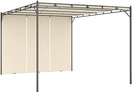 vidaXL Cenador de Jardín con Cortina Lateral Gazebo Exterior Quiosco Patio Cubre Impermeable Tienda Aire Libre Camping Pabellón Crema