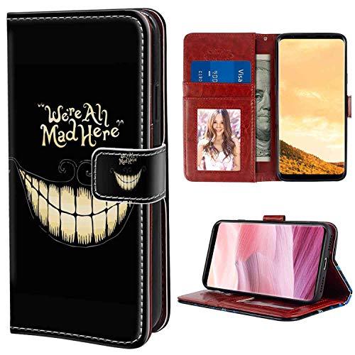 (Samsung Galaxy S8 Plus Wallet Case (6.2 Inch) Alice in Wonderland Grin Mad Smile)