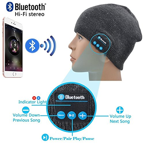 (I-Sonite (Dark Grey) Unisex One Size Winter Beanie Hat with Built-in Wireless Stereo Speaker Headphone for Blackview S8)