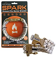 SPARK (TM) Fire Starter Outdoor Survival Paracord Bracelet Tan Camo with Khaki Whistle Side Release Buckle Kit with Scraper - Magnesium Fire Steel - LIFETIME WARRANTY - BEST FIRE STARTER (Khaki) (Tan)