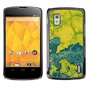 Be Good Phone Accessory // Dura Cáscara cubierta Protectora Caso Carcasa Funda de Protección para LG Google Nexus 4 E960 // Blue Map Paint Rustic Chipped Leaf