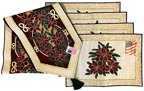 Manual Christmas Star Poinsettia Ribbon Woven Tapestry Placemats and Tablerunner Set