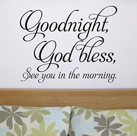 Bedroom Wall Quote Sticker Goodnight God Bless Wa285x Large