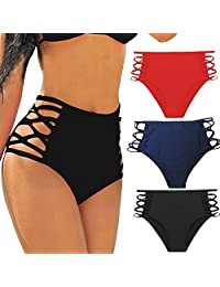 Sexy Women's Bikini Retro High Waisted Strappy Brief Bottom Tankini Swimsuit